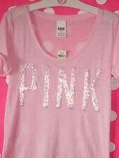 Nwt Victorias Secret Powder Pink Sequin Bling T Shirt Tee Top Love PiNK