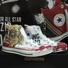 Converse The Walking Dead Face Blood Alte Bianche White Hi Painted Disegnate 5
