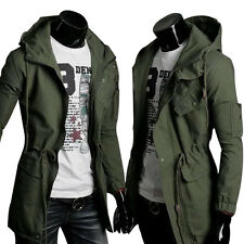Men's Casual Long Coat Parka Jacket Trench Outwear Military Windbreaker Overcoat