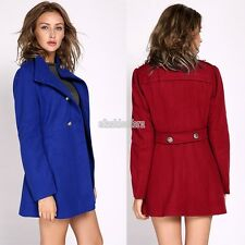 Long Sleeve Double breasted Lady Jacket Overcoat Green Nice Outerwear Solid EFFU