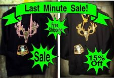 REAL APCamo Hoodie  Sweat Shirt W/Text-Pack Pocket white tail Deer Skull #44-003