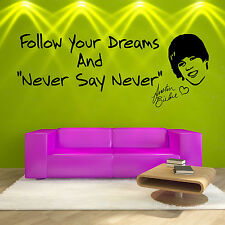 JUSTIN BIEBER Follow Your Dreams VINYL WALL ART STICKER DECAL GIRLS ROOM