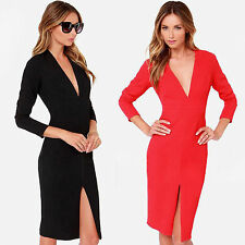 New Spring Women Split Sexy V-Neck Slim Evening Cocktail Party knee length Dress