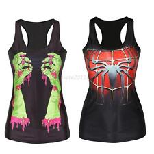 Womens Printed Tank Tops Vest Blouse Gothic Party Sleeveless T-Shirt Shirts Club
