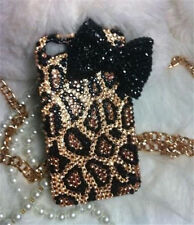 new 3D Bling handmade leopard Bow diamond Case cover skin for iPhone4 4s 5 5s 5c