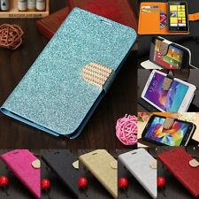 Bling Crystal Glitter Diamond Flip Leather Wallet Cover Case Stand For Samsung
