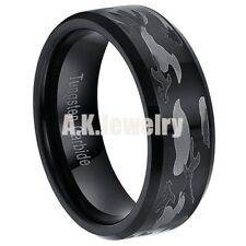 8MM Black Tungsten Carbide Camouflage Army Men's Wedding Band Ring Size 7-13