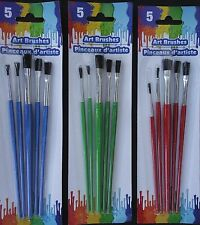 ART PAINT  BRUSHES All Purpose Small Med Large 5 Brush/Pk SELECT: Handle Color