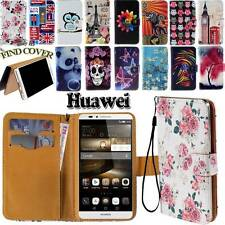 Folio Flip Leather Stand Card Wallet Cover Case Fit Various Huawei Phones +strap