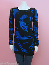 Betsey johnson Goth Guns Knit Tunic Sweater Black Blue Guns Vintage Top S M