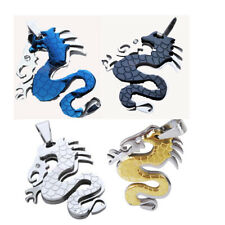 Men's Cool Stainless Steel Dragon Necklace Charm Pendant 4 COLORS You can pick