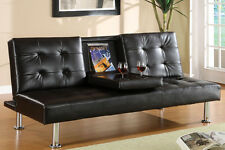 Leatherette Futon Sofa with Fold-Down Beverage Table Black Living Room Furniture