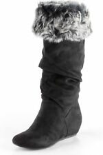Boots Cuffed Fur Fabric Suede Black New Scrunched Report Enfield Comfortable