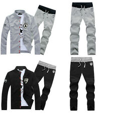 Mens Loose Black&Gray Front Open Sports Track Suits Athletic Apparel Sweats Pant
