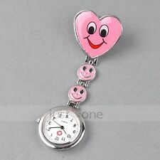 Cute Pendant Romantic Heart Smile Face Nurse Brooch Quartz Pocket Watch Gift NEW