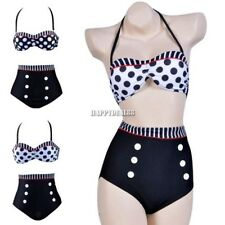 Women Sexy High Waisted Push-up Pinup Polka Dot Bikini Set Swimsuits vantech2014