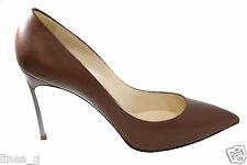 CASADEI heel brown leather pumps FW decoltè in pelle marrone tacco blade A/I