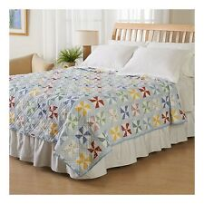 Quilt Blue Red Windmill Print Coverlet Patchwork Pinwheel Twin Full Queen King