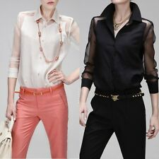 Long sleeved self-cultivation shirt punk mosaic perspective chiffon shirt CS01