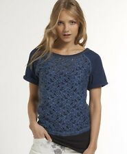 New Womens Superdry Hyper Lace T-shirt Navy