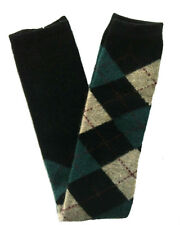 Argyle Over Knees  Wool Leg Warmers, Boots Socks, Green/Black