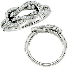 0.61 G-H Diamond Love Knot Promise Wedding Bridal Women Ring 14K White Gold