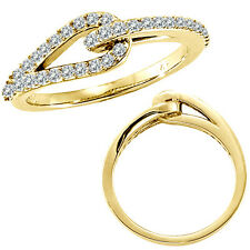 0.37 G-H Diamond Love Knot Women Wedding Anniversary Bridal Ring 14K Yellow Gold