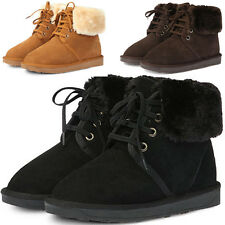 New Mooda Snow Winter Warm Womens Lace up Short Leather Boots Shoes