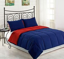 RED/NAVY - 3pc Reversible Down Alternative Comforter Set TWIN FULL/QUEEN KING