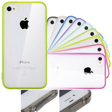 Clear Glossy Plastic Back Case Cover Soft TPU Bumper Frame for iPhone 4 4s/5 5s