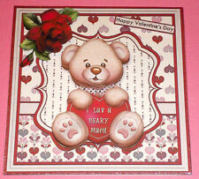 Handmade Greeting Card 3D All occasion With A Bear