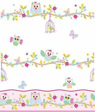 PATCHWORK OWL WALLPAPER AND BORDER - WHITE PINK PASTEL BEDROOM NURSERY