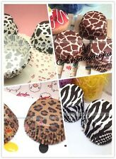 100x Heat-resistant Round Leopard Print Cupcake liners Cake Baking Paper Cup