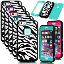 Zebra Patterned Rugged Heavy Duty Shockproof Combo Case Cover For iPhone 6 Plus