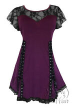 Plus Size Purple Black Lace Gothic Roxanne Sweetheart Corset Top 1X 2X 3X 4X 5X