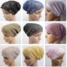 fb0120 New Lace Flower Muslim Inner Hijab Caps Islamic Underscarf Hats