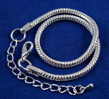 10X Silver Lobster Clasp Snake Chain Bracelets Fit Charms European Beads BP01