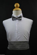 Baby & Boys Silver Cummerbund + Bow Tie set for Tuxedo Suit sz: S M L XL - 22 28