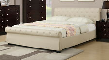 Platform Bed with Tufted Lether 2 Colors Queen King Bed Frame Bedroom furniture