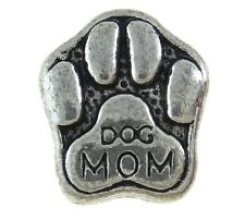 Dog Mom European Charm Bead Puppy Paw Family Pet Memory Stamped Lettering 1PC