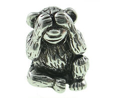 Playful Monkey European Charm Bead See No Evil Style Zoo Animal Memory 1PC