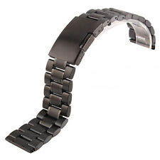 Black Stainless Steel Strap Watch Band With Push Button Lock Buckle For Invicta