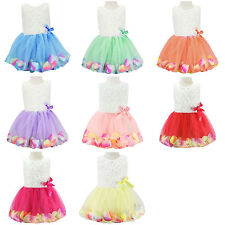 Fairy Girls Cute Princess Rose Flower Petal Bow Lace Tulle Skirts Dress 80-120