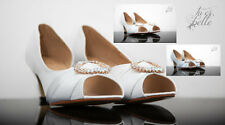 LADIES WOMAN WEDDING BRIDAL EVENING SHOES BRIDESMAID SMALL LOW MID KITTEN HEEL