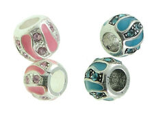 Pink OR Blue Enamel Rhinestone European Charm Bead Spacer Style Your Choice 1PC