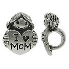 I Love Mom European Charm Bead Daughter Holding Heart Quote Family Mother's Day