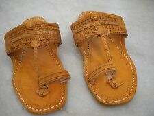WOMAN HIPPY BUFFALO SANDALS CREEPERS LEATHER RETRO TOE RING 60S FLATS