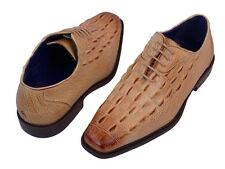 """Men's Dress Shoes """"Roberto Chillini 6387"""" Oyster Oxfords Lace up Gator Print"""