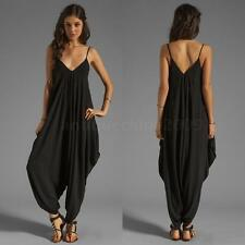 Sexy Women's Jumpsuits Deep V Neck Spaghetti Straps Long Beach Rompers Playsuits