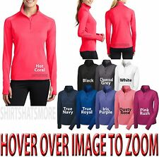 Ladies Dri Fit Stretch 1/2 Zip Pullover Top Long Sleeve w/ Thumbhole Option NEW!